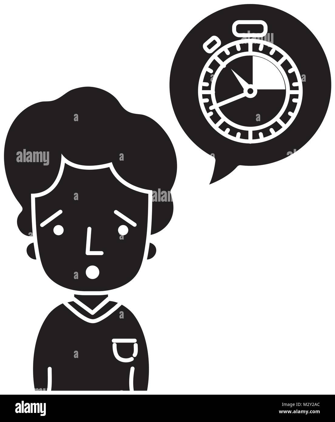 silhouette man with t-shirt and choronometer inside chat bubble - Stock Image