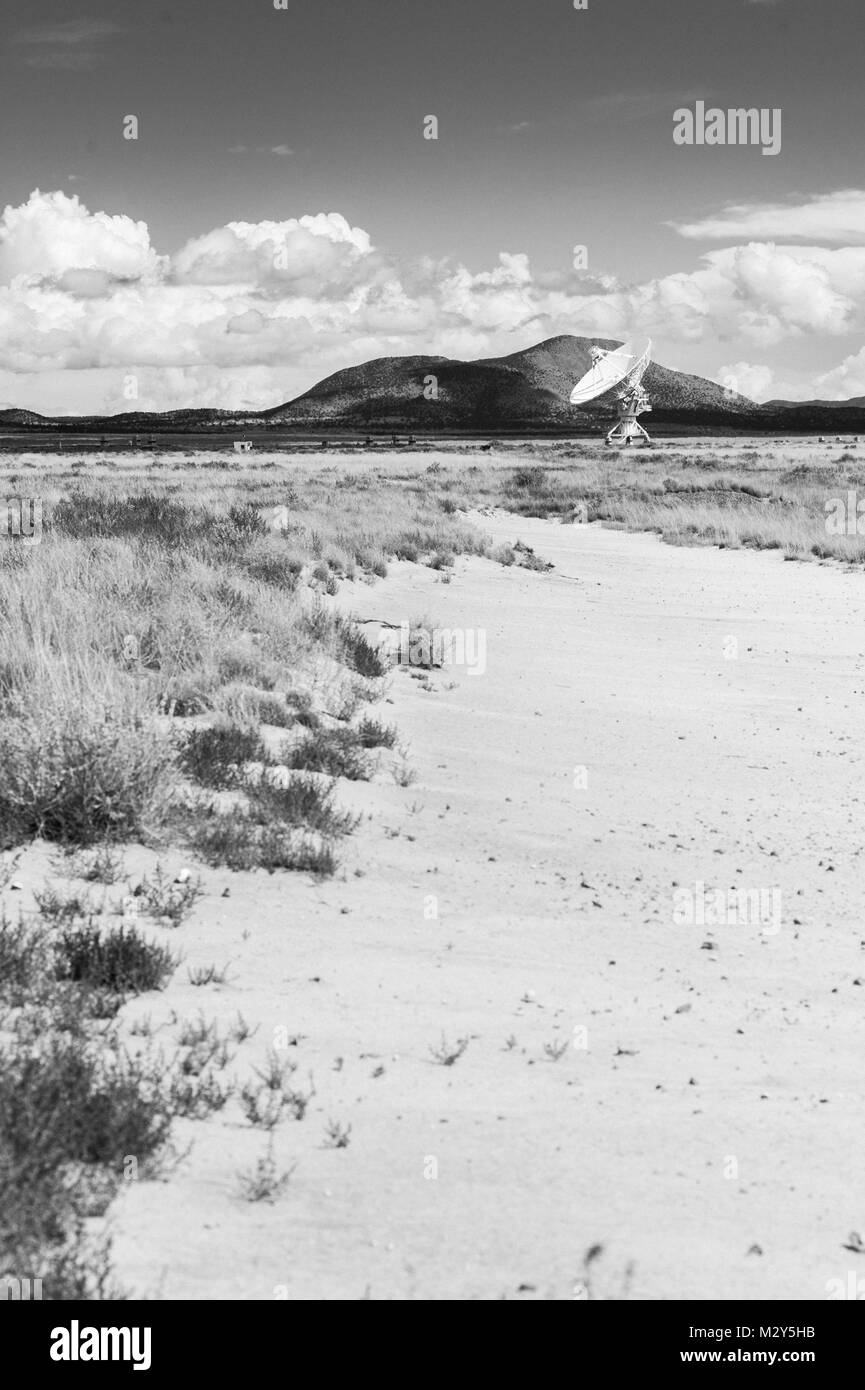 Black & White Photograph of a Very Large Array (VLA) Radio Telescope located at the National Radio Astronomy Observatory Stock Photo