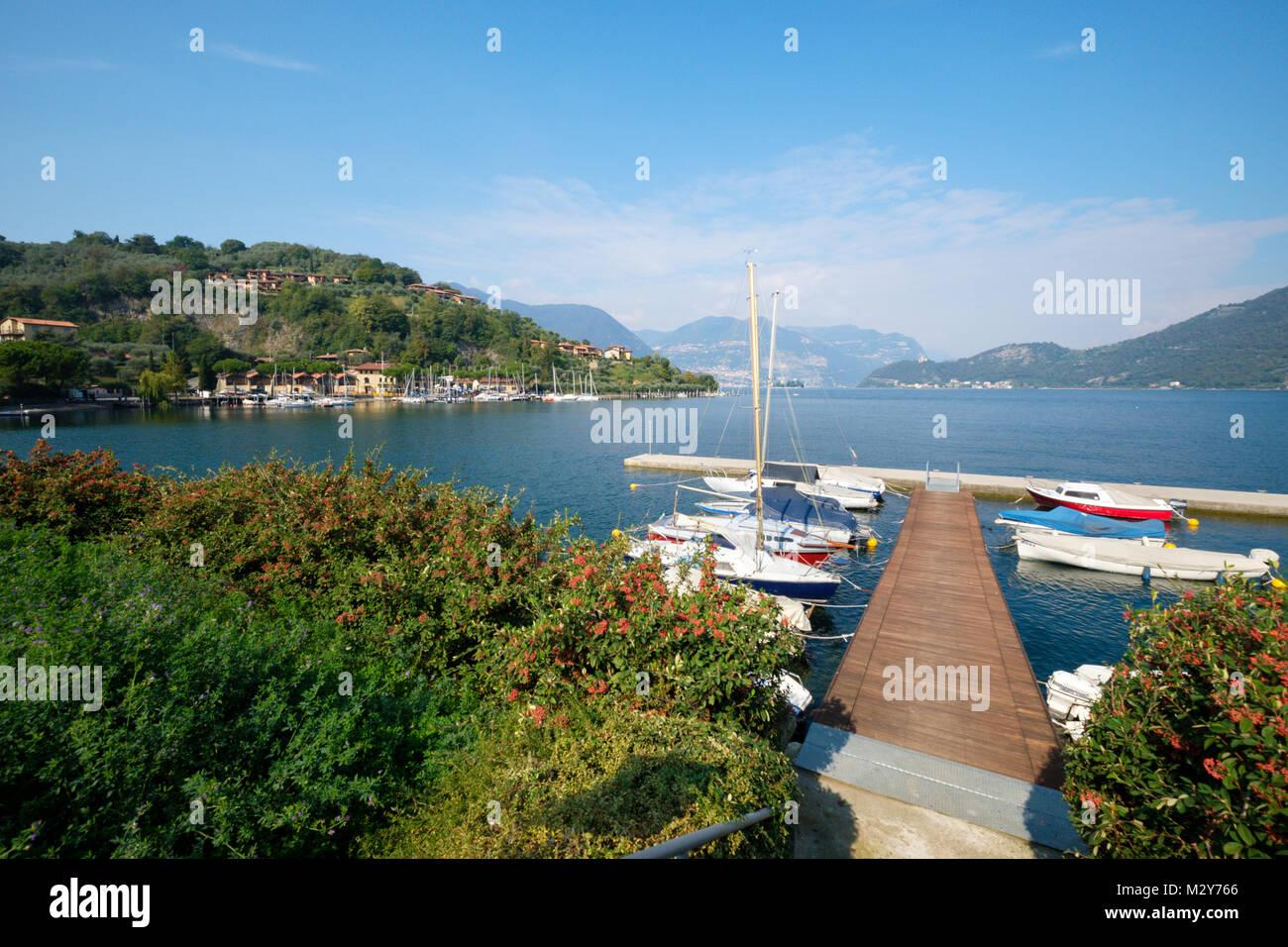 Lake Iseo (Lago d'Iseo) from Sulzano, Lombardy, Italy - Stock Image