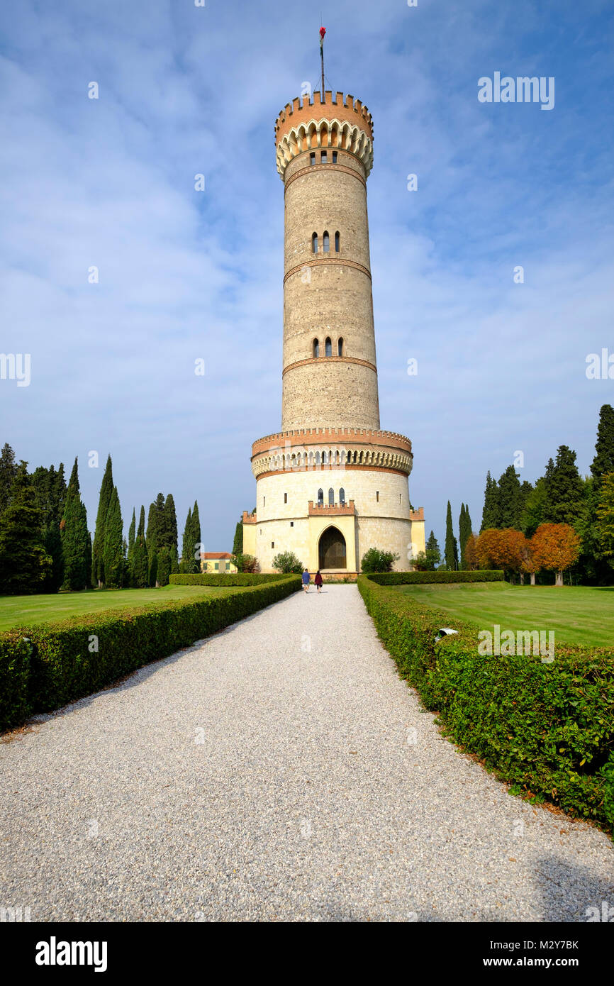 The tower of San Martino della Battaglia commemorates the battle of Solferino, 24 June 1859. Brescia, Lombardy, - Stock Image