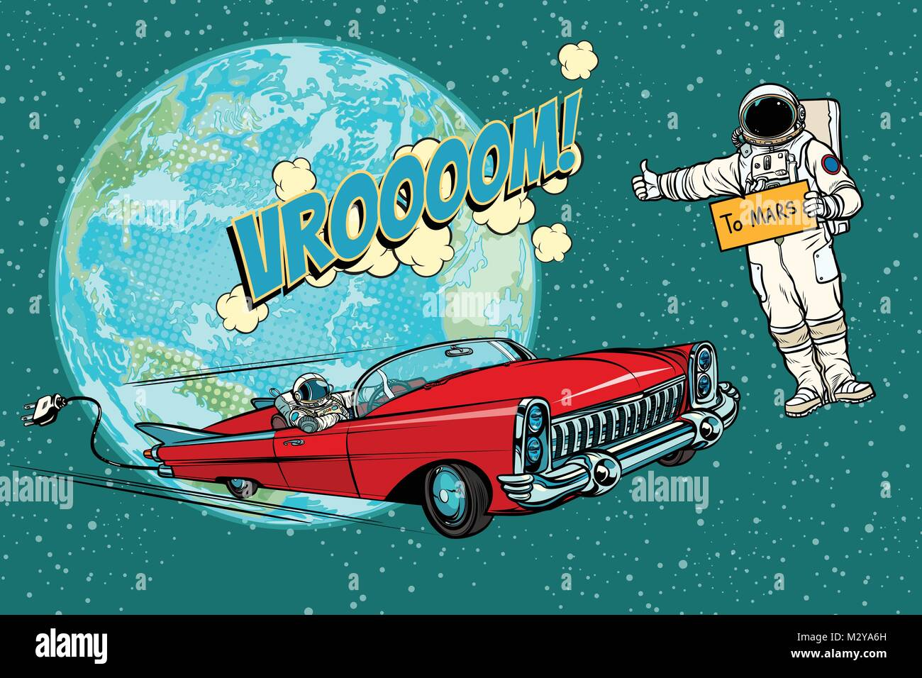 Hitchhiking astronaut waiting for the electric car in space. fli - Stock Vector