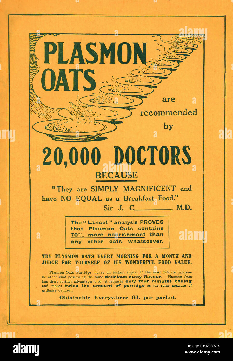 Plasmon Oats advert, circa 1901, Recommended by no less than 20,000 doctors! - Stock Image
