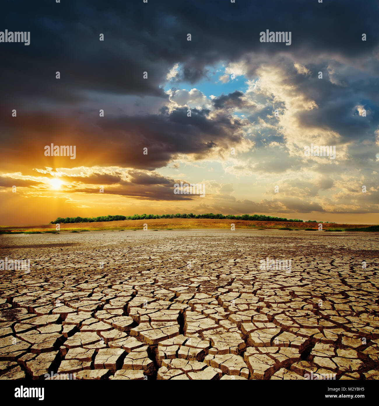 drought earth in sunset. dramatic sky over desert. change climat - Stock Image