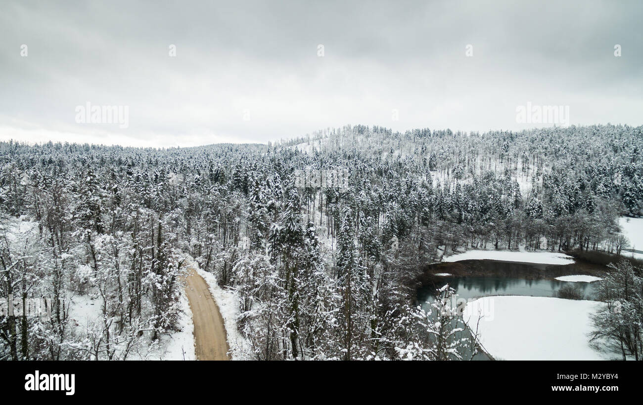 Aerial view of winter snow covered forest landscape. Drone photography collection. - Stock Image