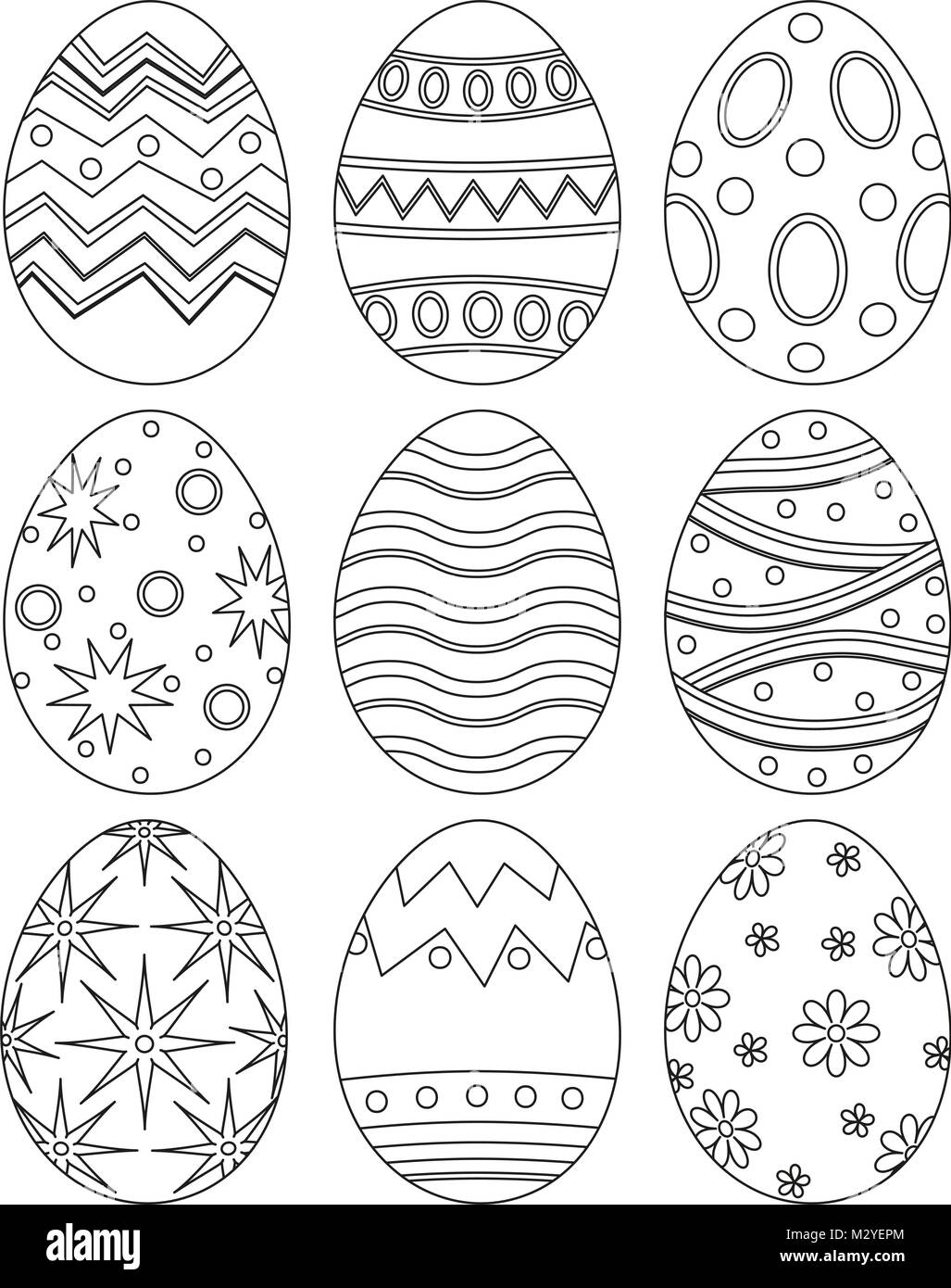 Black And White Easter Egg Collection Set Poster Coloring Book Page For Adults Kids Holiday Vector Illustration Gift Card Certificate Banner