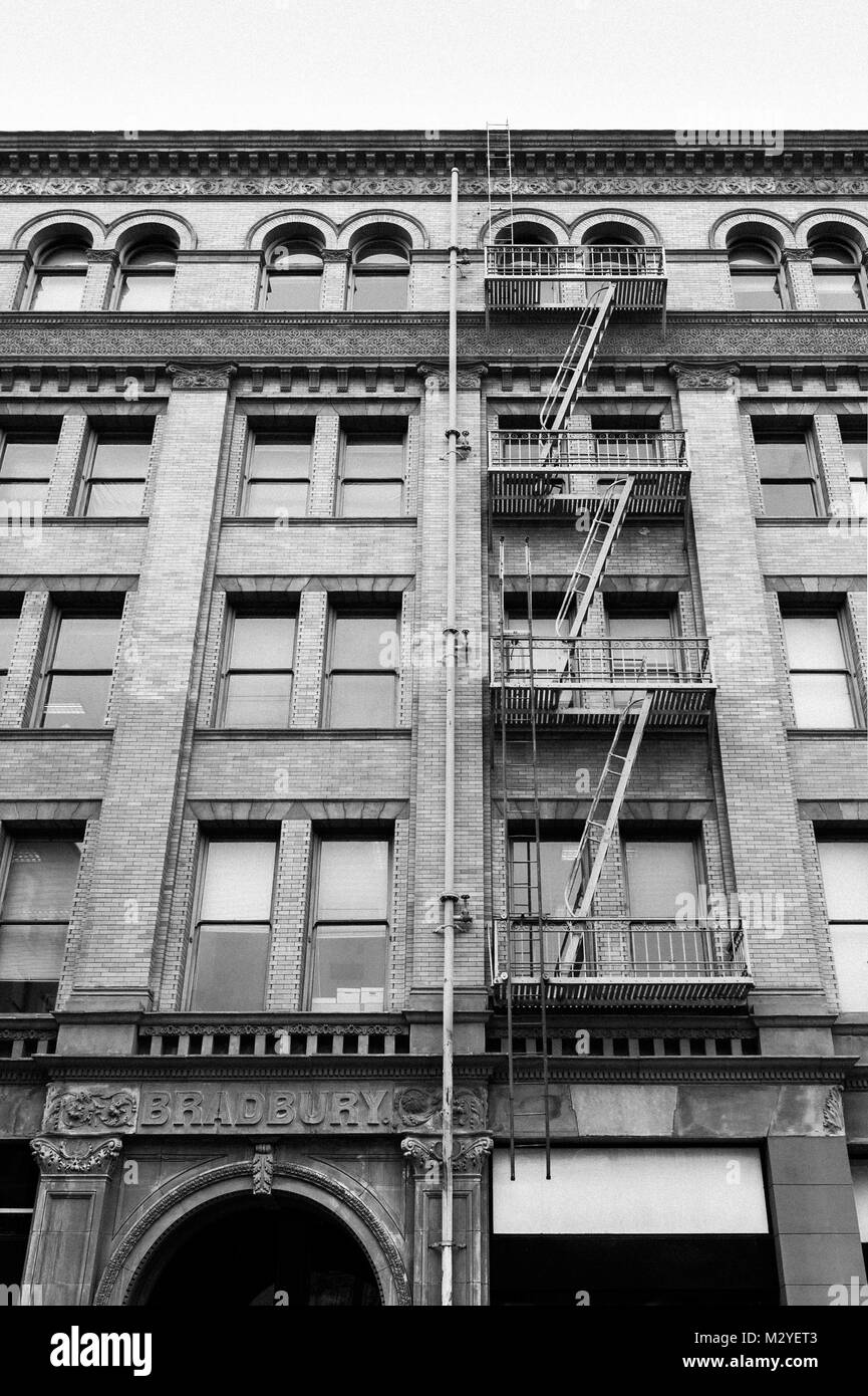 View of exterior facade of the famous Bradbury Building in Downtown Los Angeles, CA. - Stock Image