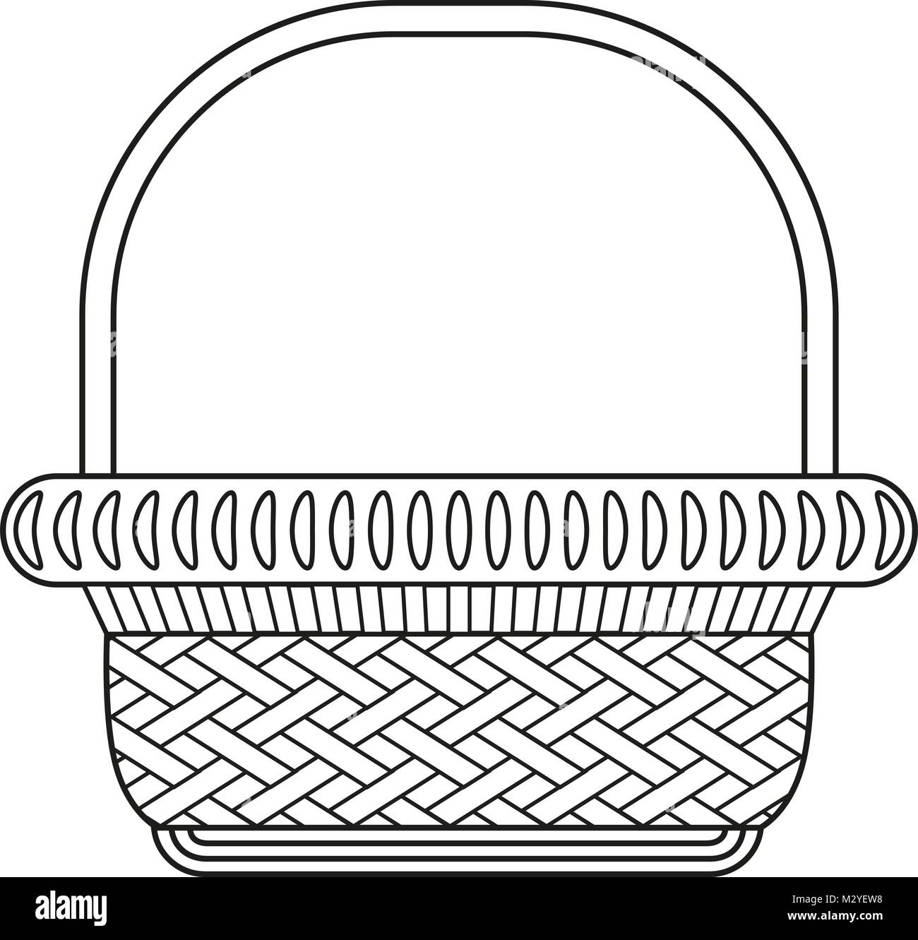 Line art black and white wicker basket shopping cart icon poster ...