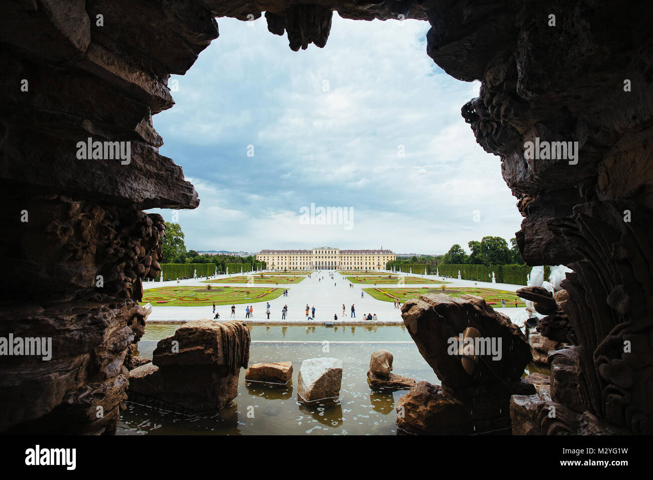Behind the Neptune Fountain of Schonbrunn Palace, Vienna - Stock Image