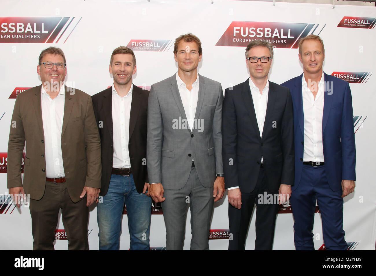 Jens Lehmann (RTL Fussball Experte, European Qualifiers), Florian Koenig (Moderator, European Qualifiers), Marco Stock Photo
