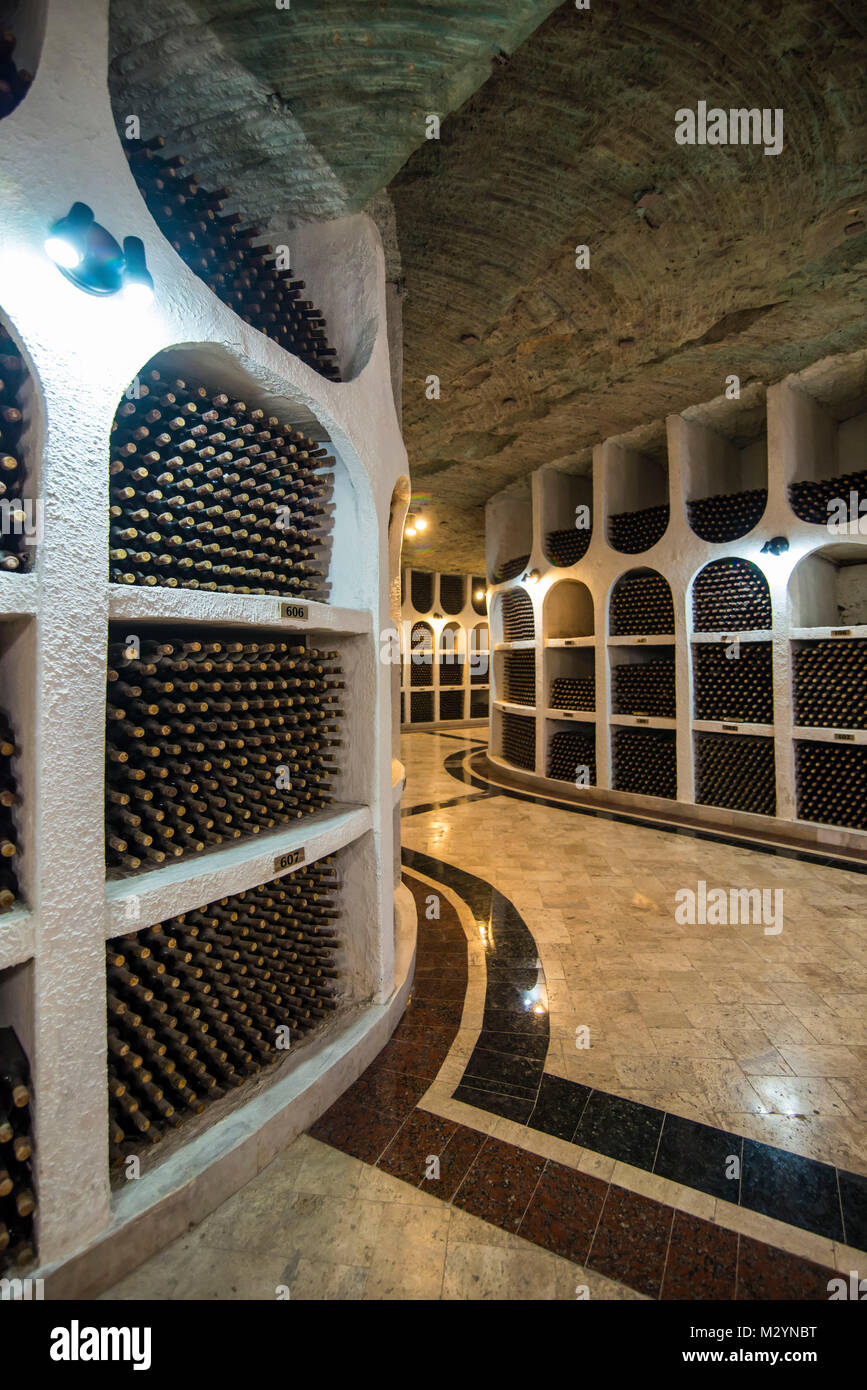 Selected wines from the past in the Wine tasting area in the cellars of Cricova one of the largest wineries of the - Stock Image