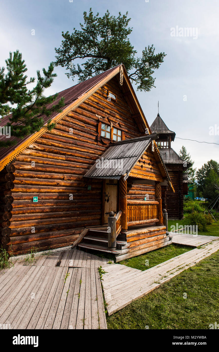 traditional rebuild houses in the Ewenen-Museum in Esso, Kamchatka, Russia - Stock Image
