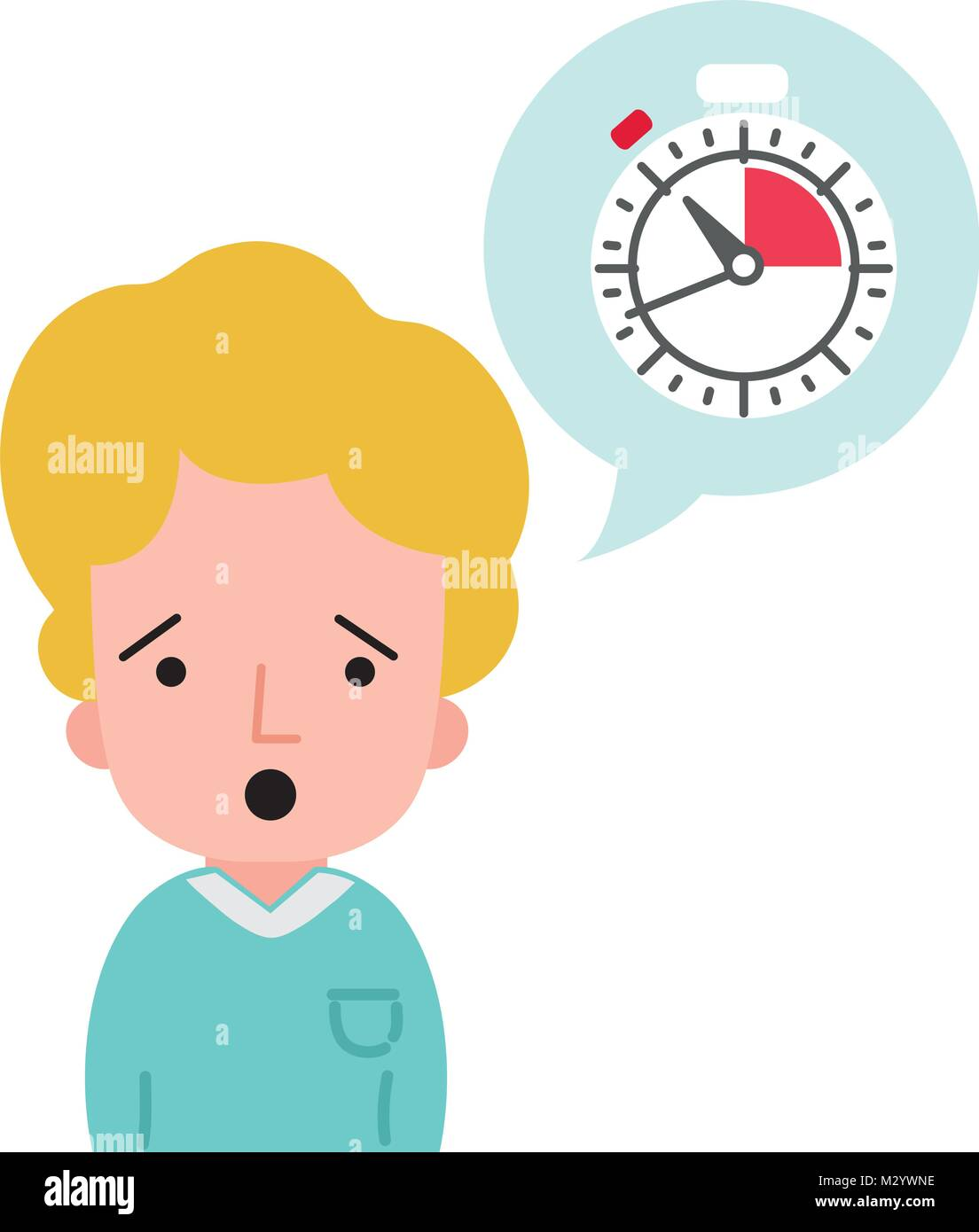 colorful man with t-shirt and choronometer inside chat bubble - Stock Image