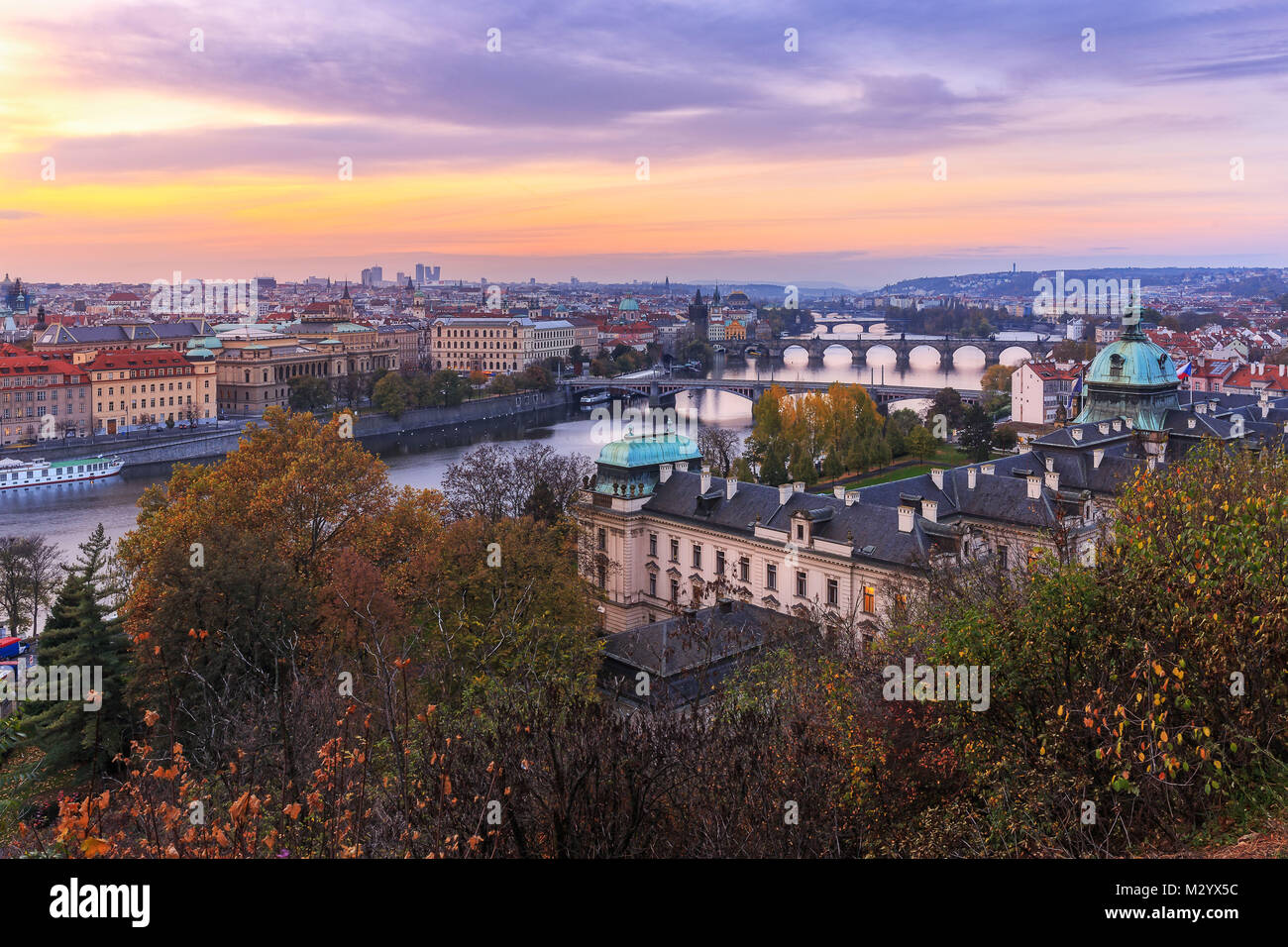 View over Prague from the Metronome - Stock Image