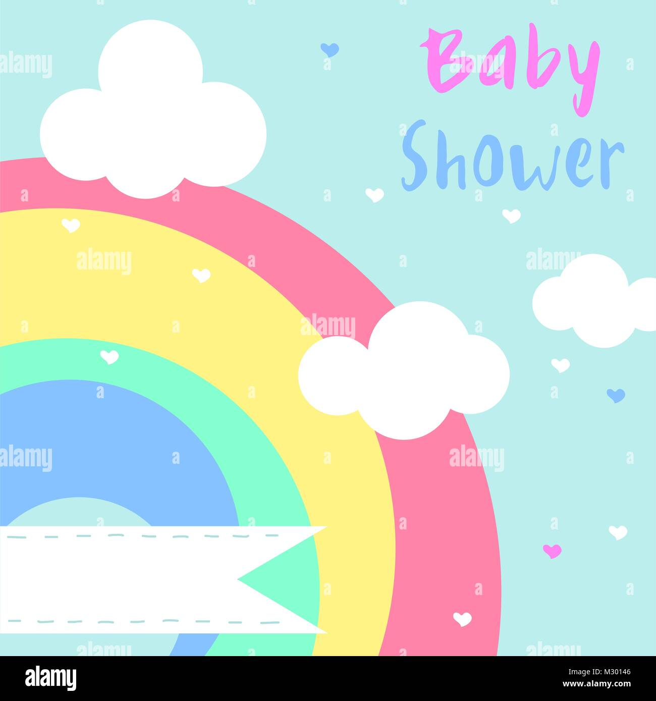 Vector baby shower invitation card with rainbow stock vector art vector baby shower invitation card with rainbow stopboris Choice Image