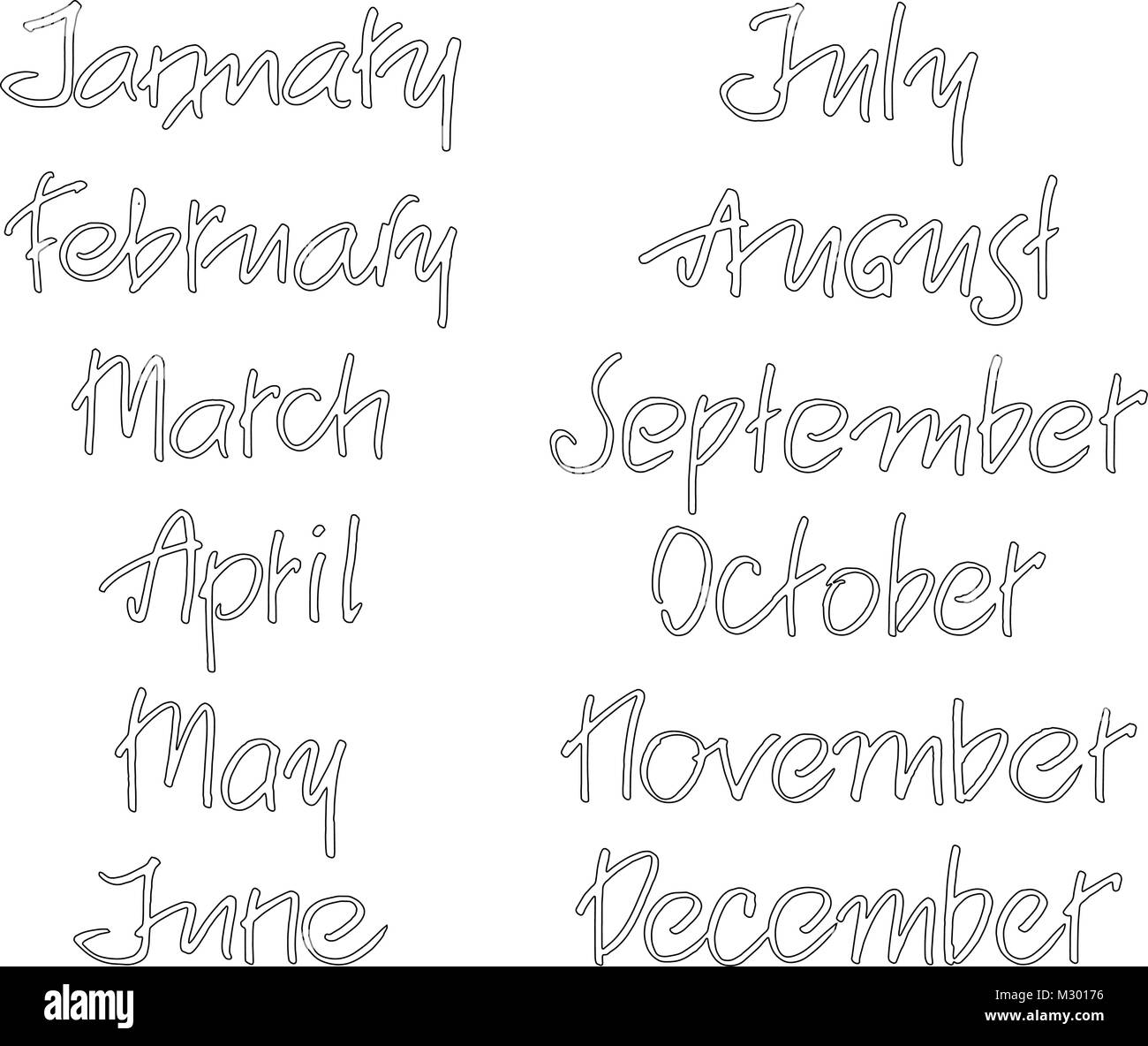Months Of The Year Handwritten Words Hand Lettering For Calendar
