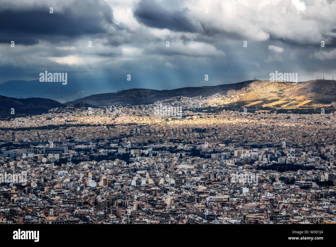 High angel view from the mountain Likavitos on the capital of Greece - Stock Image