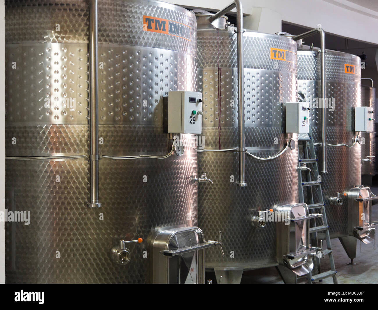 Modern Wine production in Areni in southern Armenia at the Areni Wine Factory, steel tanks instead of barrels for Stock Photo