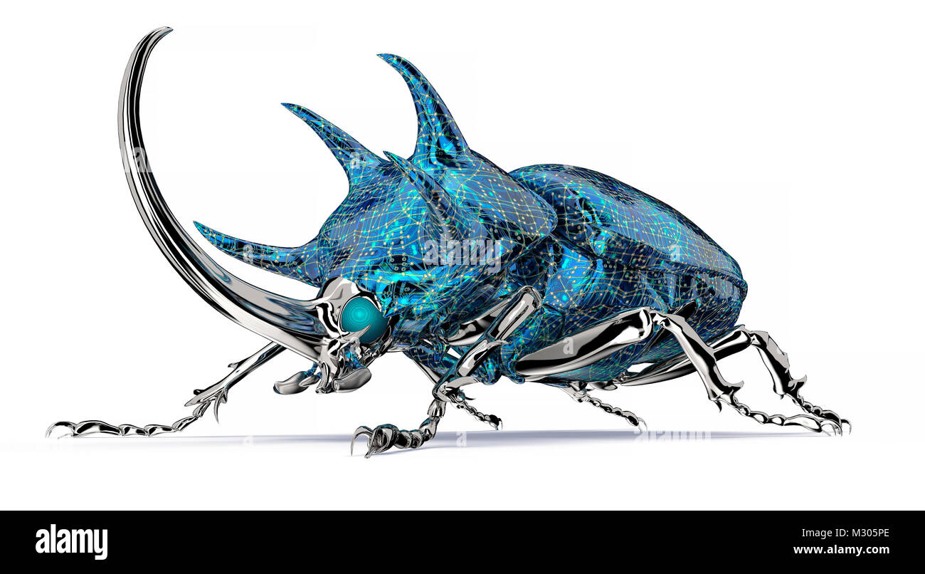 digital safety concept electronic computer bug isolated - Stock Image