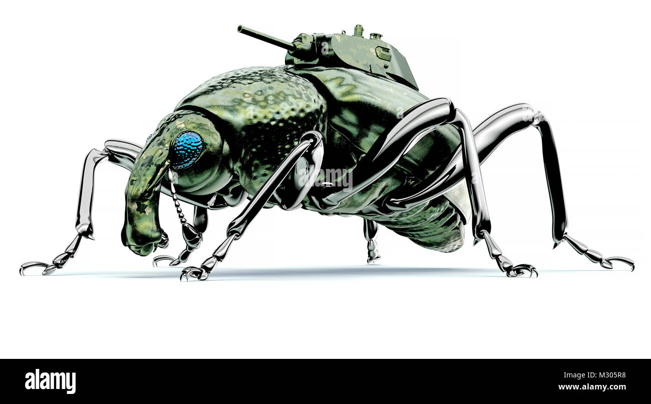 digital war concept electronic computer bug isolated, 3D illustration - Stock Image