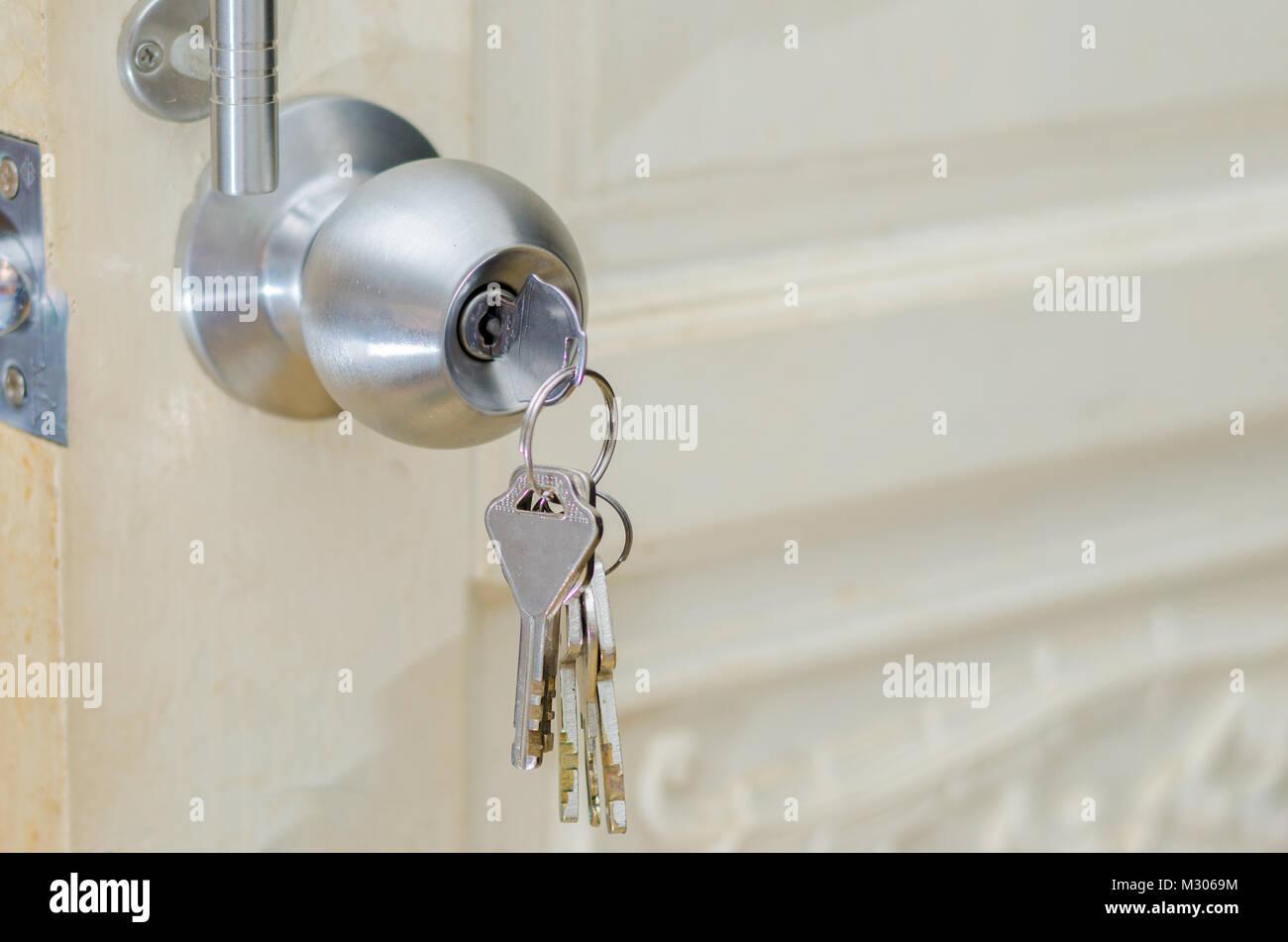 Unlocked knob Hand use the key for unlocking door Knob door wooden door White stainless door knob or handle hand knob door hand press door lock knob & Unlocked knob Hand use the key for unlocking door Knob door wooden ...