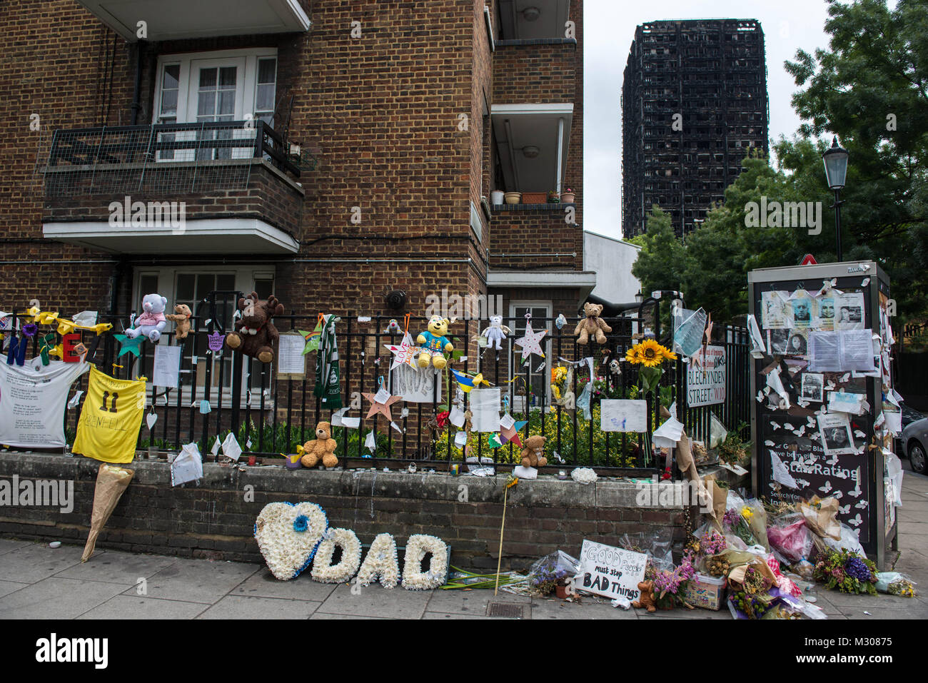 London, United Kingdom. Grenfell Tower victims memorial. - Stock Image