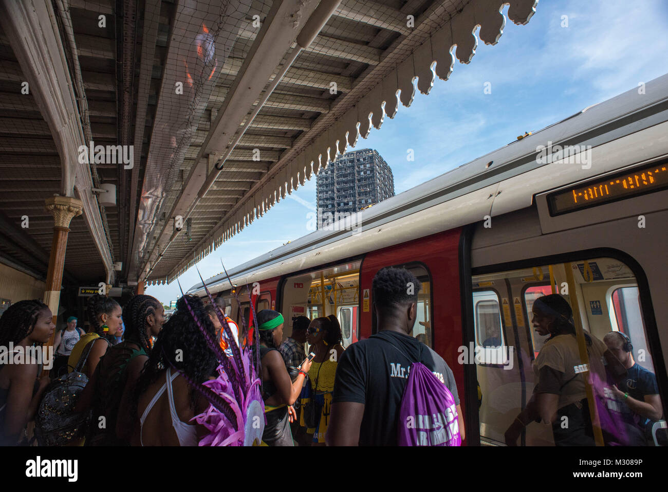 London, United Kingdom. Grenfell Tower, Latimer Court station. - Stock Image