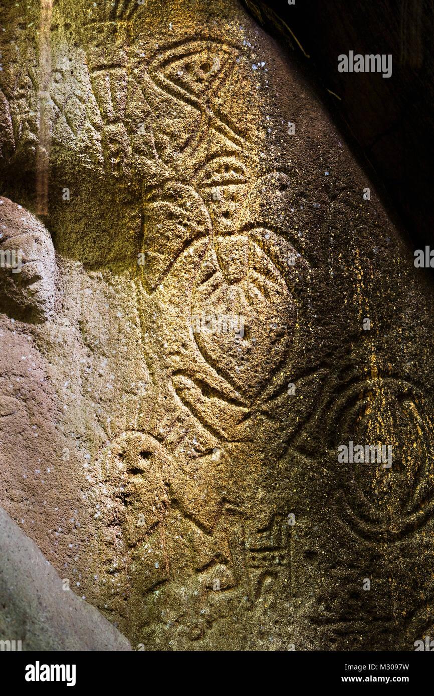 Suriname, Werephai near Kwamalasamutu, an ancestral site with ancient petroglyphs, engravings. - Stock Image