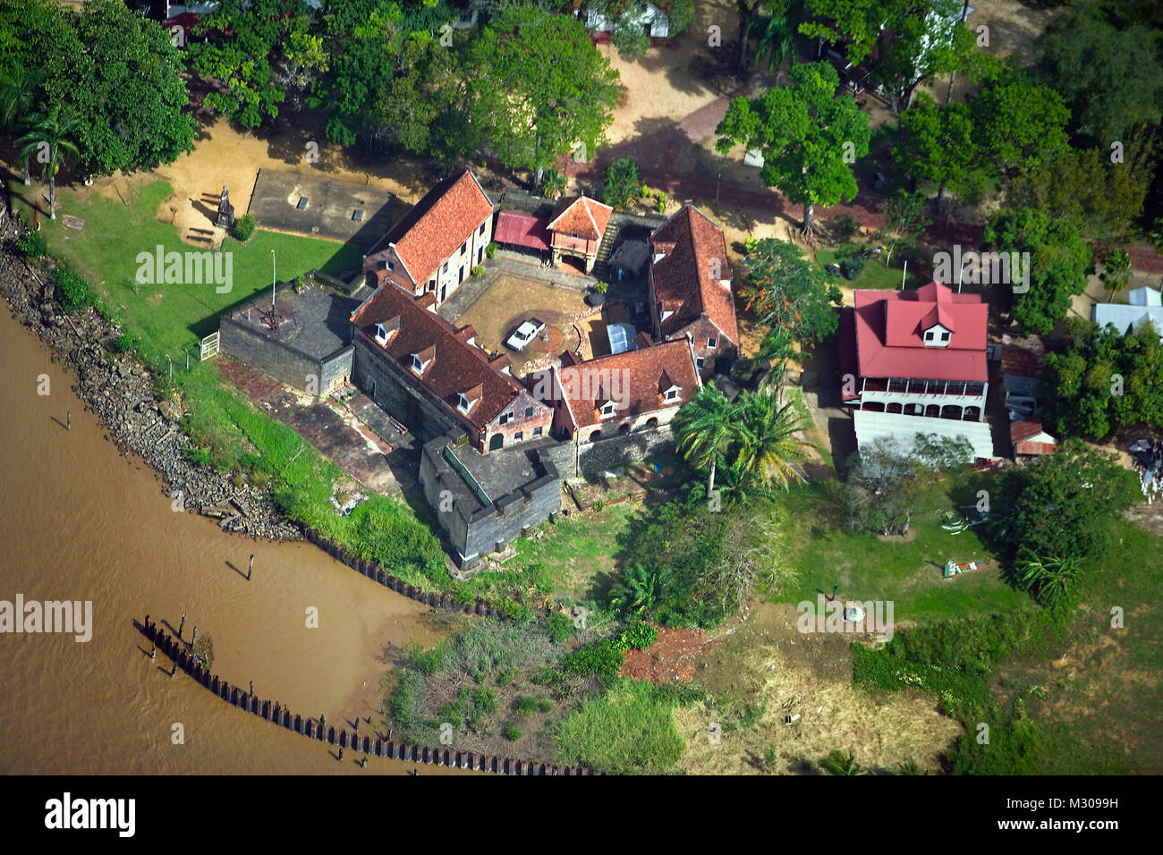 Suriname, Paramaribo, Aerial view old fort called Zeelandia. - Stock Image