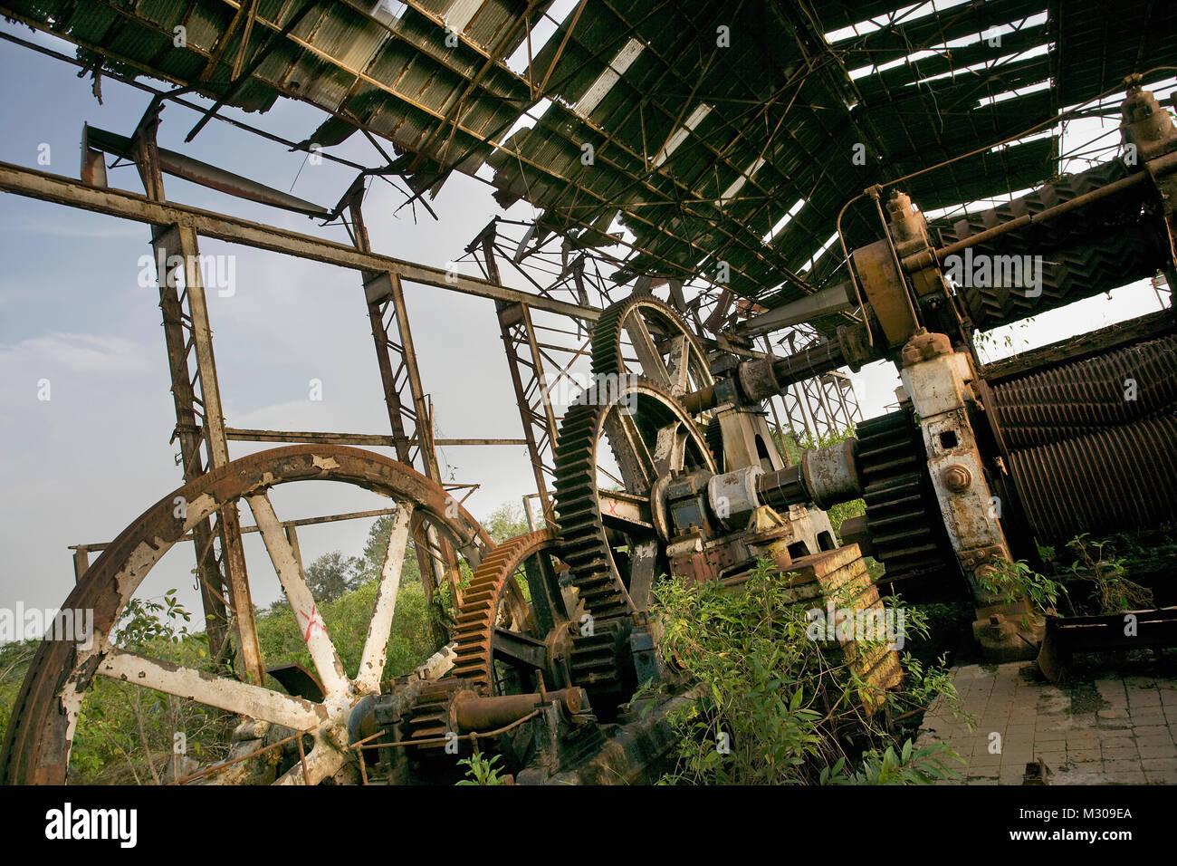 Suriname, Paramaribo. Deserted former sugarcane plantation factory called Marienburg. - Stock Image