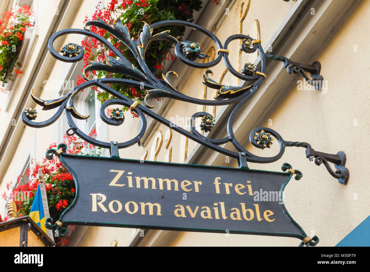 Germany, Bavaria, Romantic Road, Rothenburg ob der Tauber, Hotel Zimmer Frei Room Available Sign - Stock Image