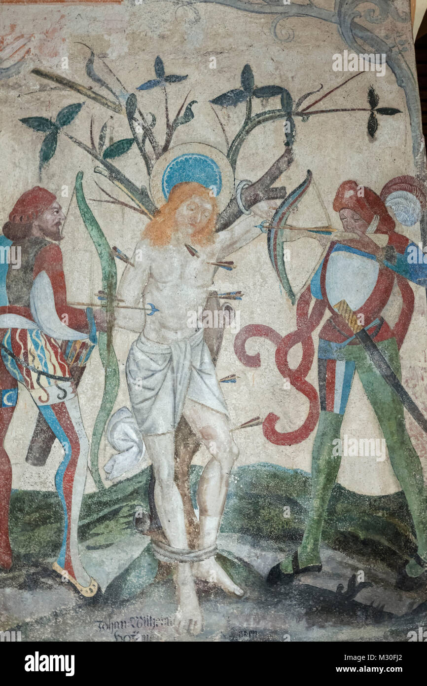 Germany, Rhineland-Palatinate, Oberwesel, St.Martin's Church, 16th century Wall Painting depicting The Persecution - Stock Image