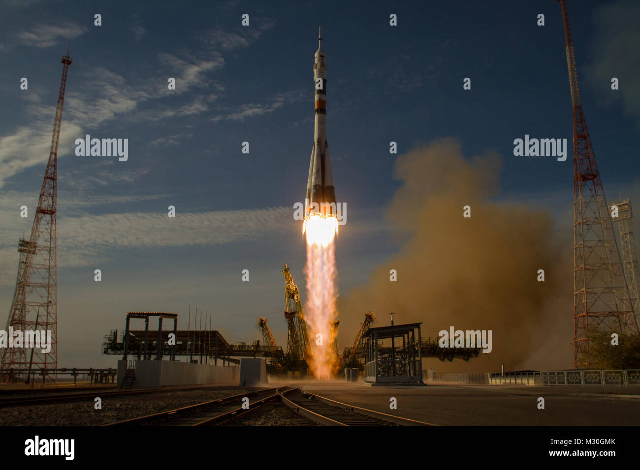 The Soyuz rocket with Expedition 33/34 crew members, Soyuz Commander Oleg Novitskiy, Flight Engineer Kevin Ford - Stock Image