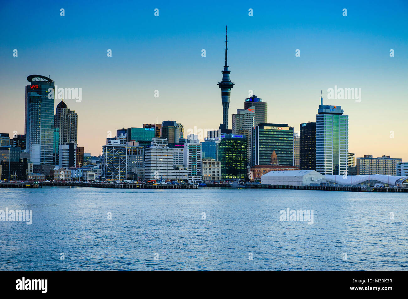 Skyline of Auckland, New Zealand Stock Photo