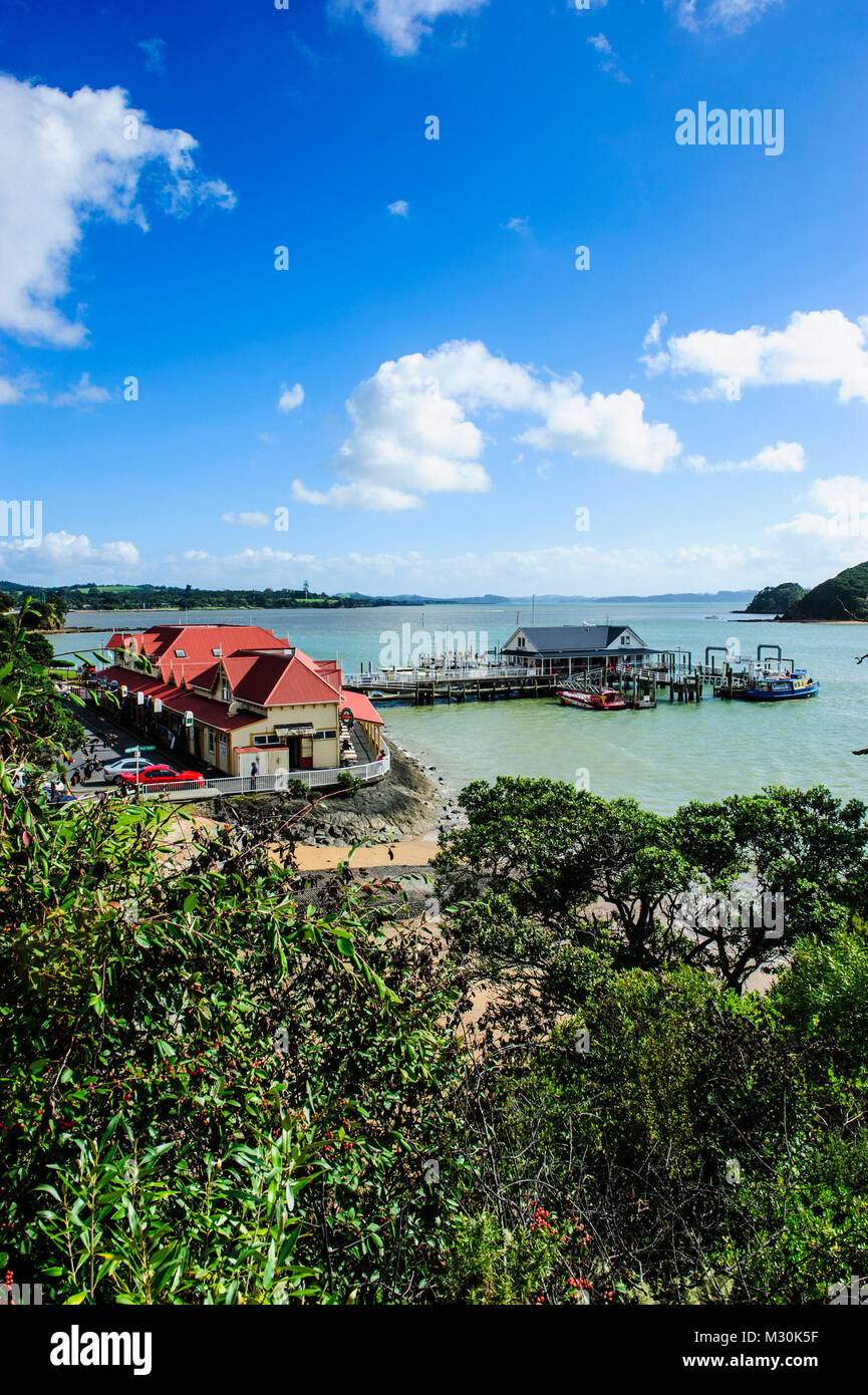 Overlook over Paihia, Bay of Islands, North Island, New Zealand Stock Photo