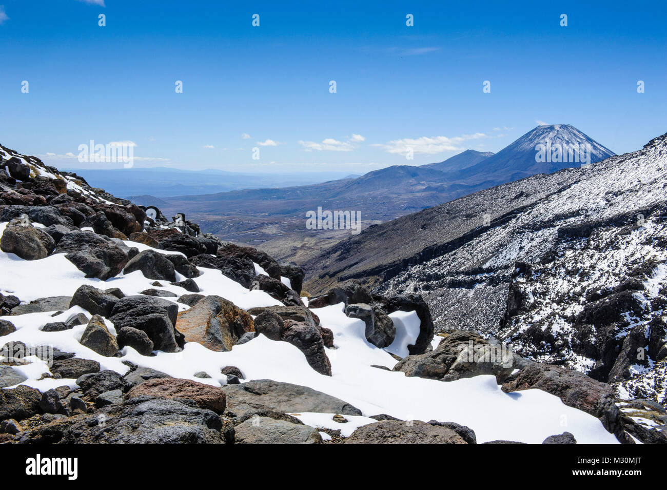 View from Mount Ruapehu on Mount Ngauruhoe. Unesco world heritage sight Tongariro National Park, North Island, New Stock Photo
