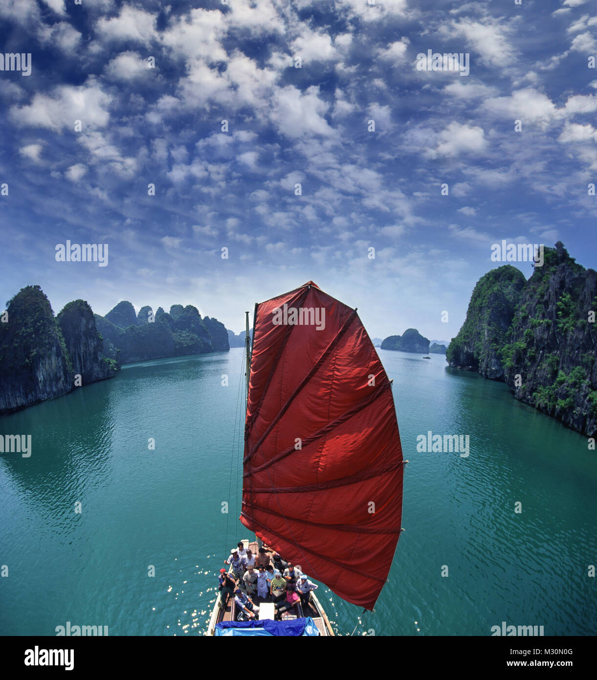Junk in Halong Bay, Vietnam, Indochina - Stock Image