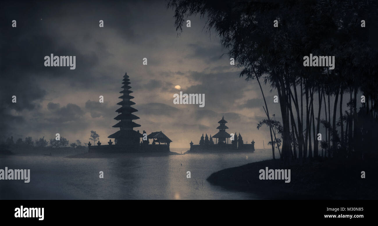 Silhouette of pagoda in Bedugul, Bali, Indonesia, Asia Stock Photo