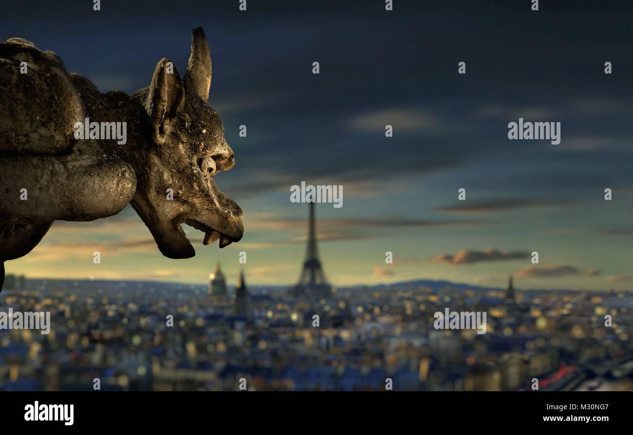 Gargoyle at Notre Dame de Paris, Paris, France, Europe - Stock Image