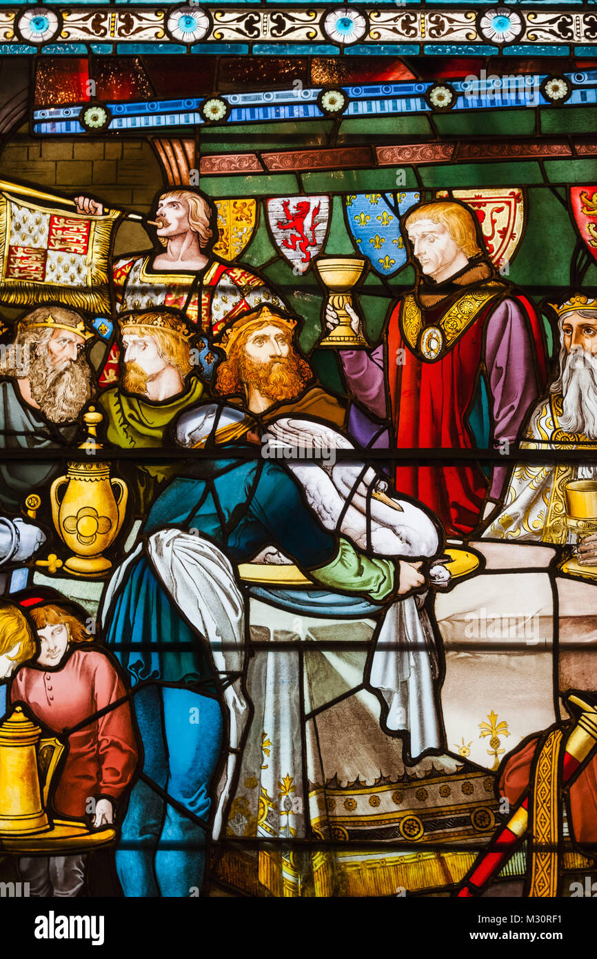 England, London, The City, The Vinters' Company, The Vinters' Hall, Stained Glass Window depicting Feast - Stock Image