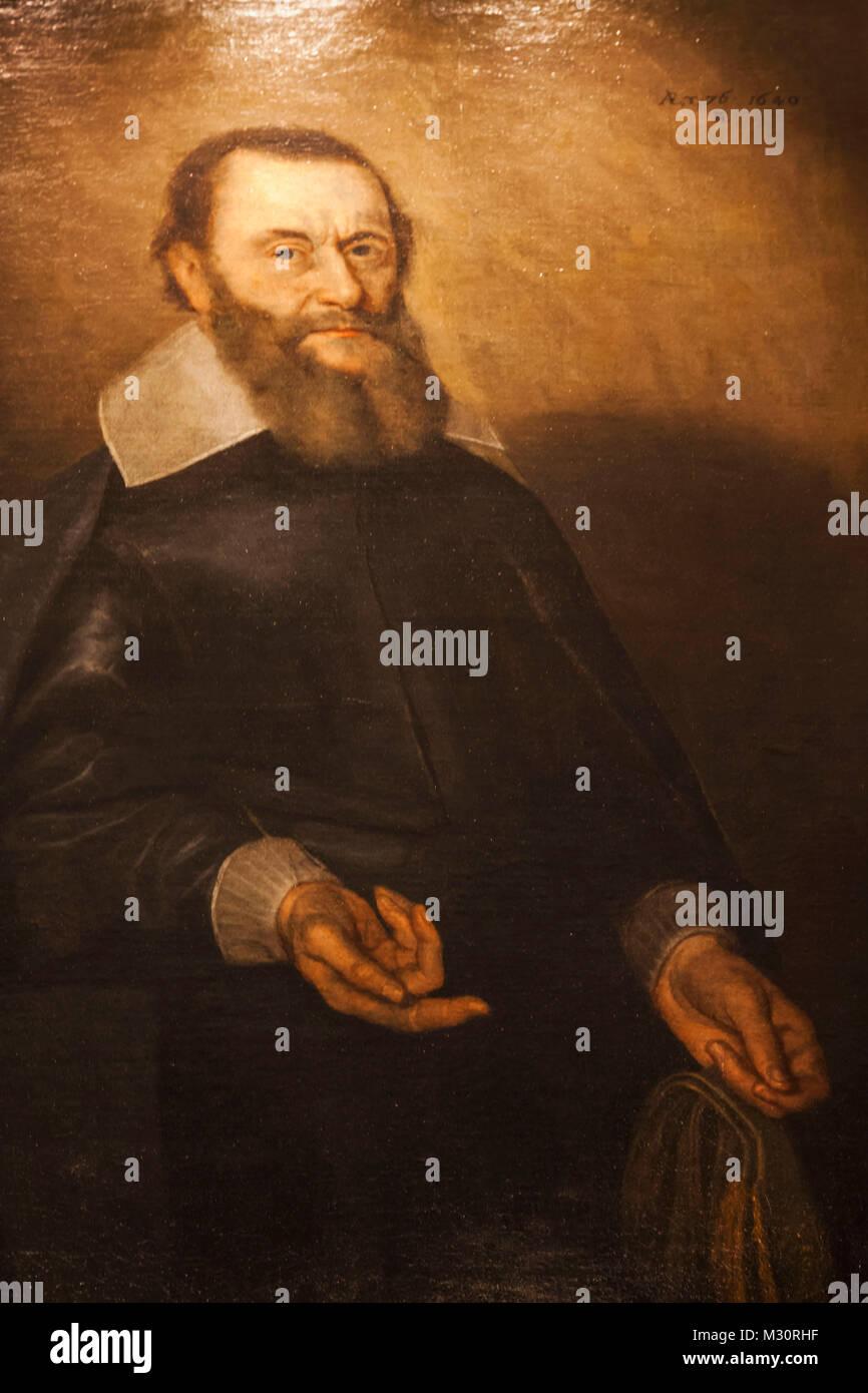 England, London, The City, Black Friars Lane, Apothecaries' Hall, Portrait of Gideon de Laune - Stock Image