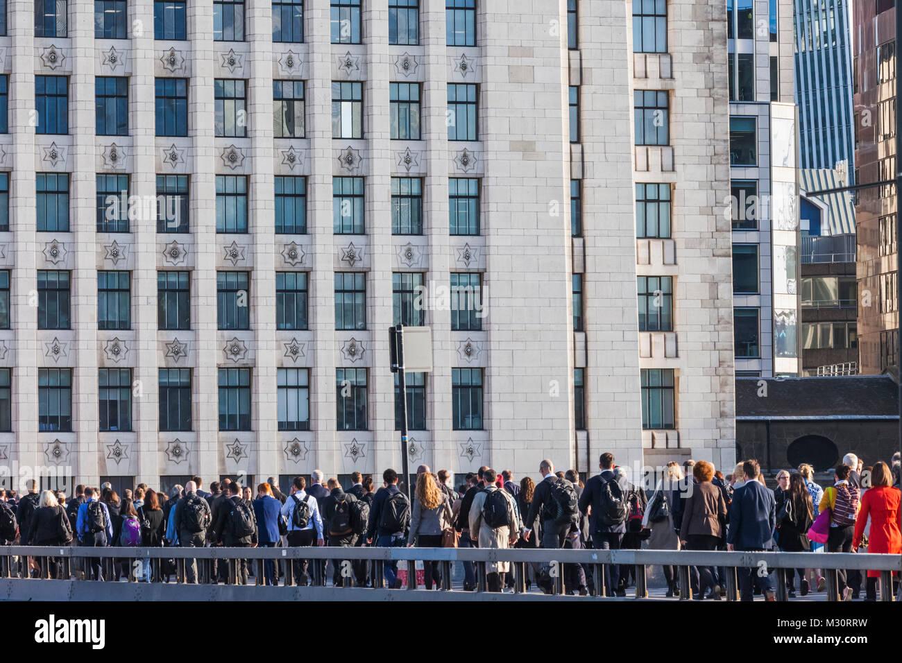 England, London, London Bridge, Commuters Heading to The City of London - Stock Image
