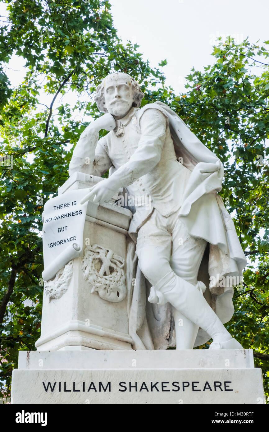 England, London, Soho, Leicester Square, Shakespeare Statue - Stock Image