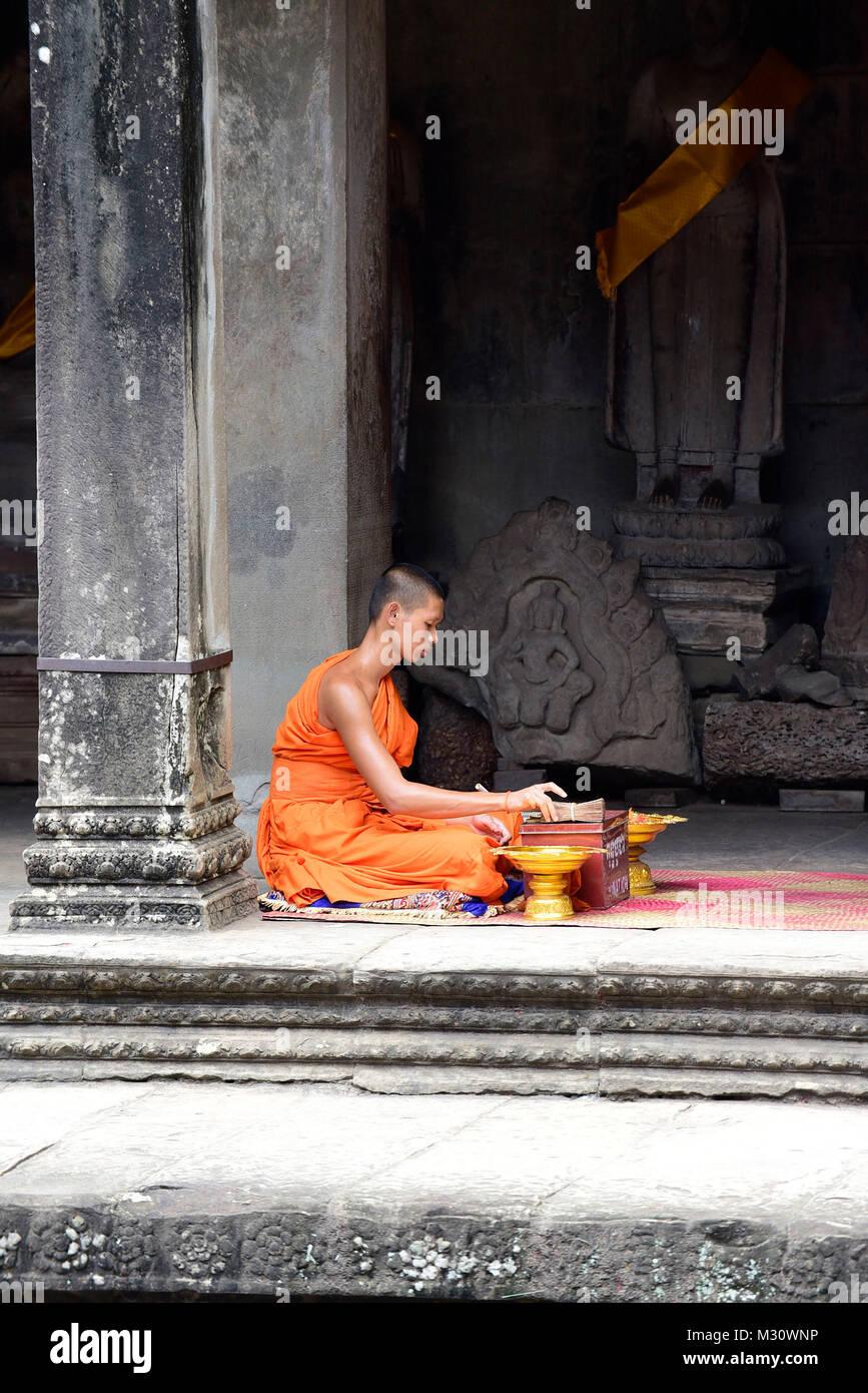 Cambodia, Angkor Vat, Young monk - Stock Image