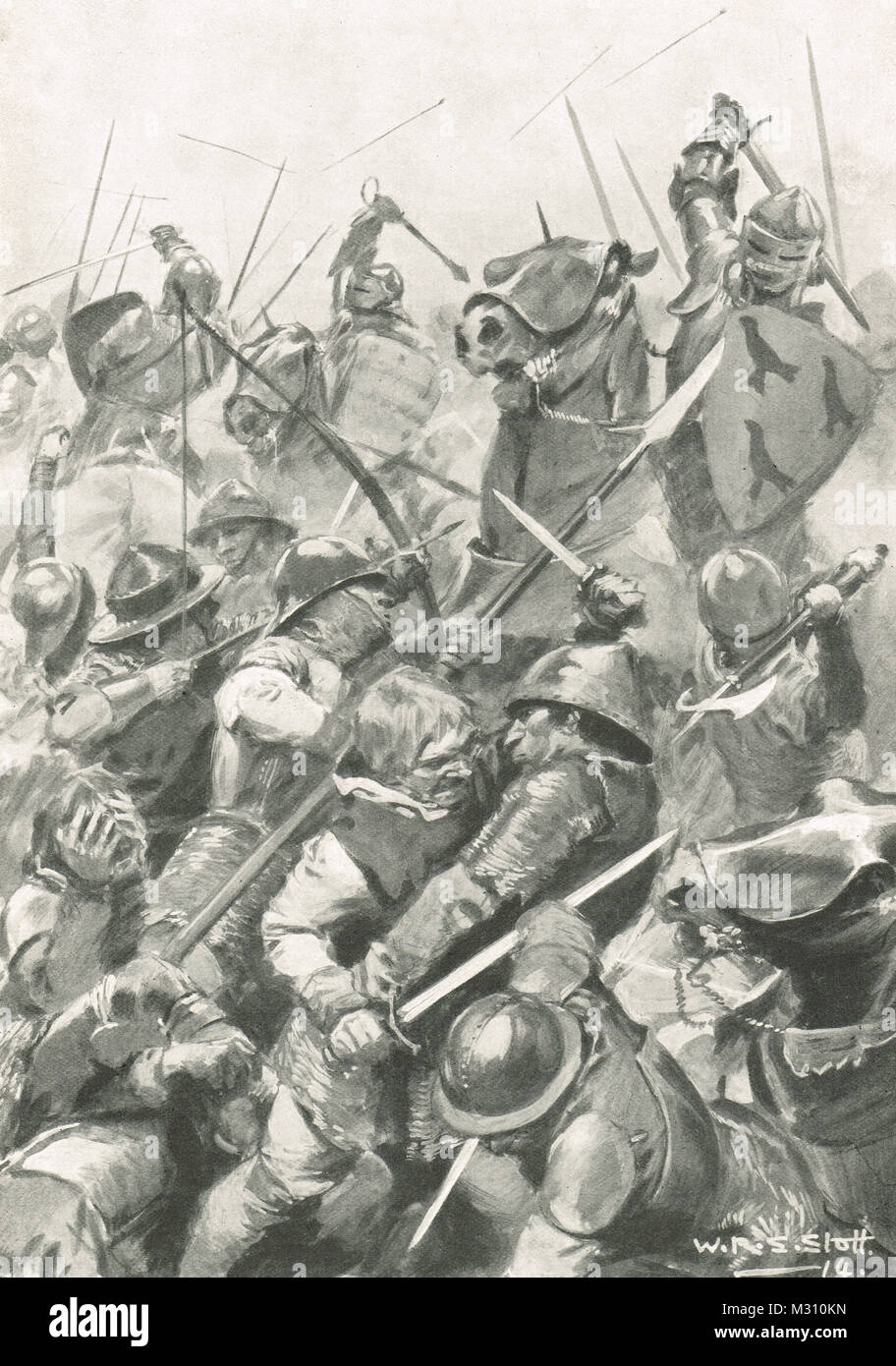 Battle of Bosworth Field, 22 August 1485, last significant battle of the Wars of the Roses - Stock Image