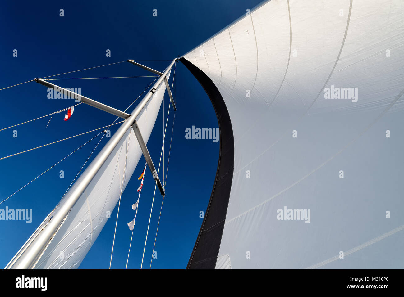 sails of a sailing yacht in the wind sailing on the ocean - Stock Image