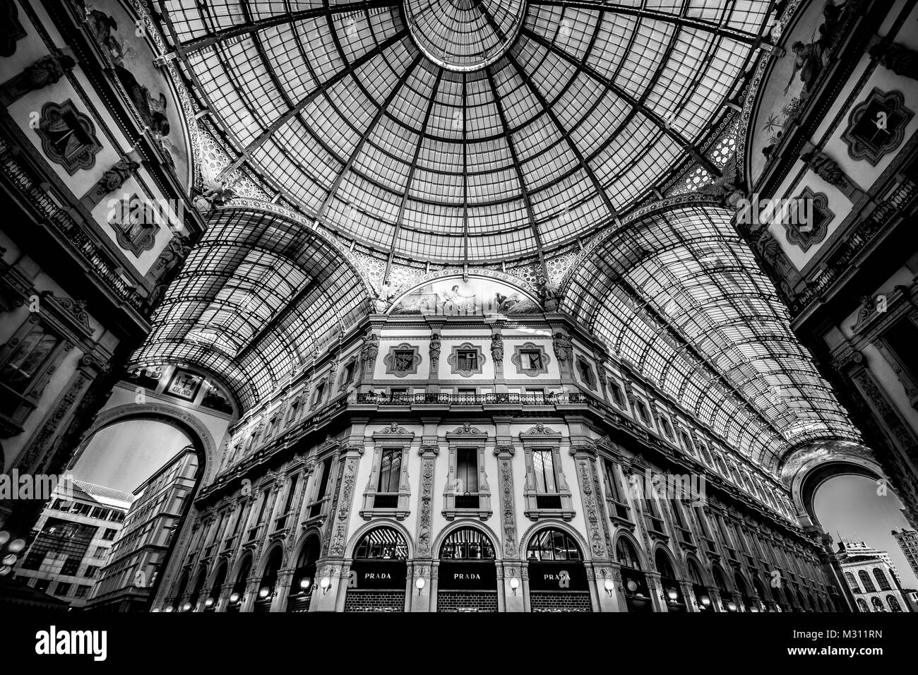 Galleria Vittorio Emanuele II in Milano. It's one of the world's oldest shopping malls, designed and built - Stock Image
