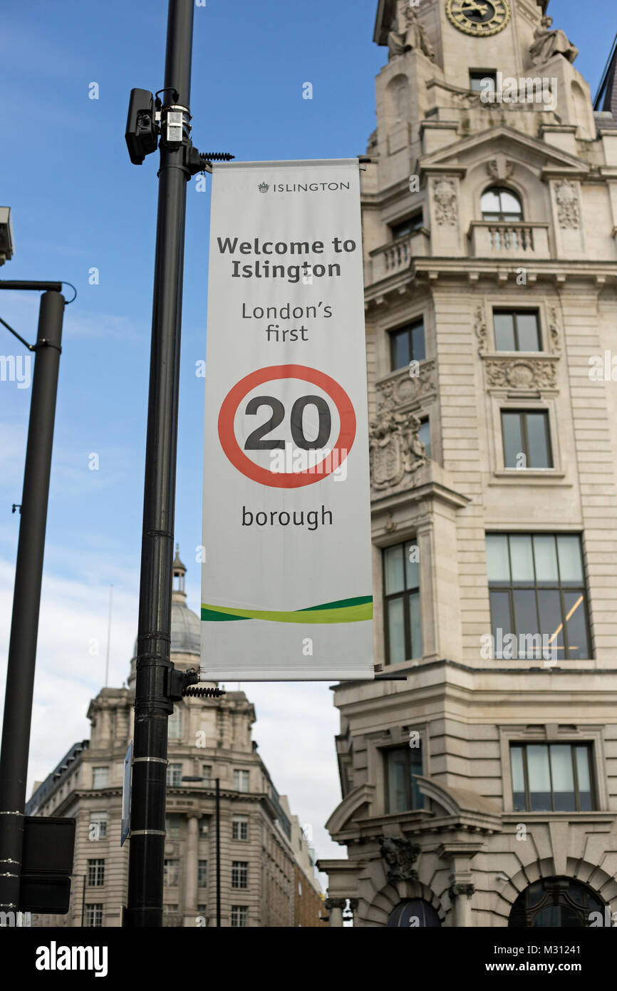 London, England, February 2018, A sign proclaims that Islington has 20 MPH zones. - Stock Image