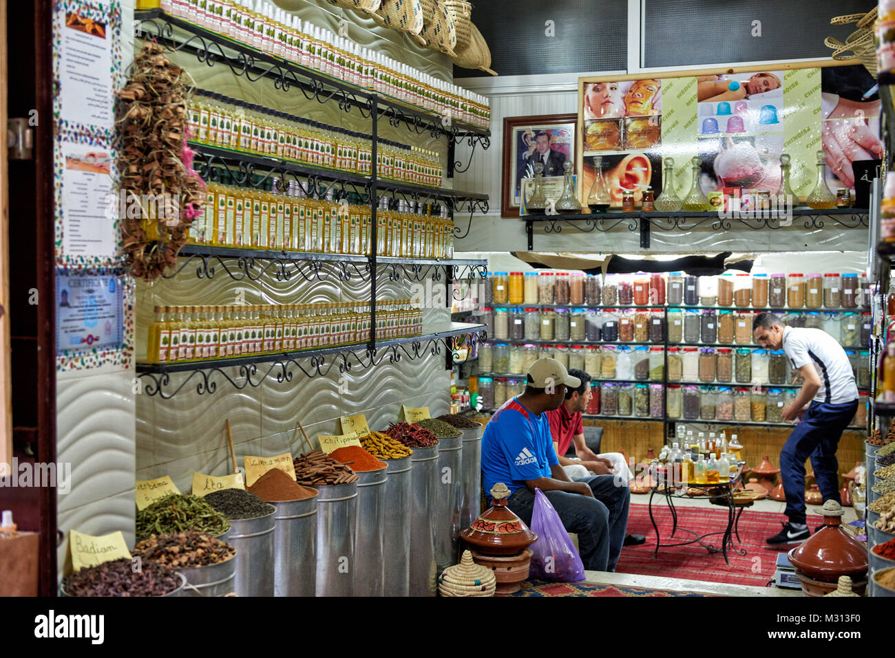 shop with perfume in old town (medina) of Fez, Morocco, Africa - Stock Image