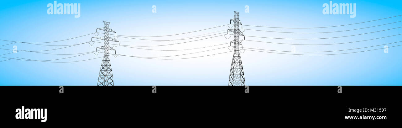 Electrical trusses and electric current cables, electricity distribution - Stock Image