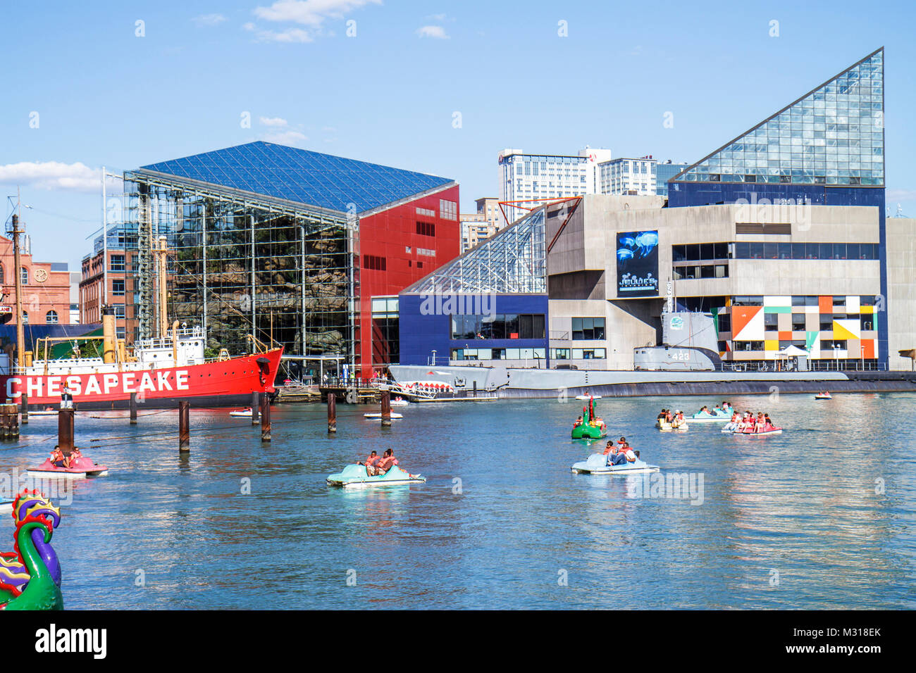 Baltimore Maryland Inner Harbor Patapsco River port waterfront Harborplace attraction National Aquarium Chesapeake - Stock Image